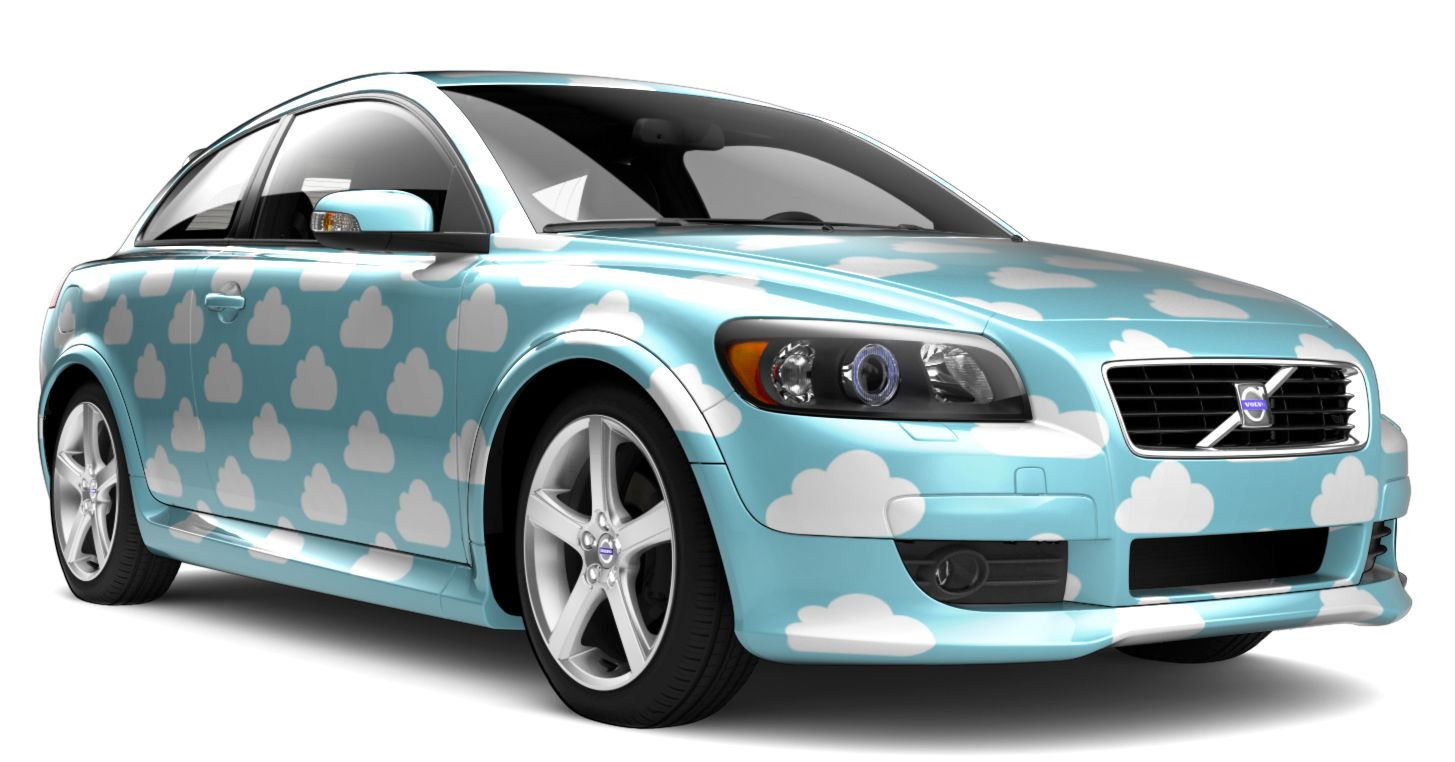 Volvo C30 Custom Car Wrap (Clouds)